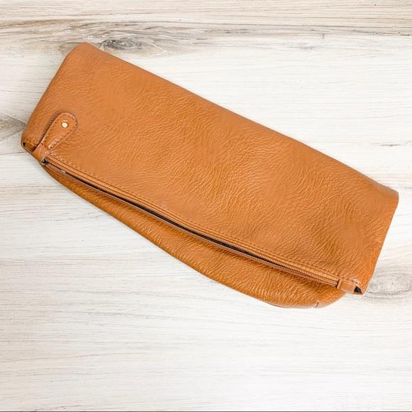 Free People Handbags - Free People Cognac Vegan Leather Fold Over Clutch